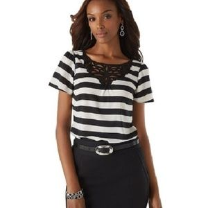 White House Black Market Striped Open-Cut Out Top